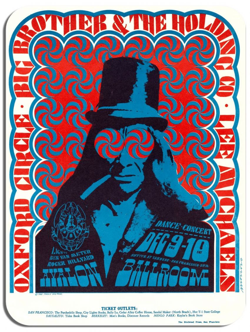 Big Brother and the Holding Company Avalon Ballroom  Poster Mouse Pad Psychedelic Mouse Mat